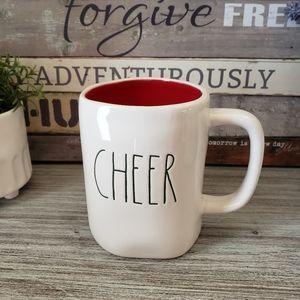 Rae Dunn CHEER Mug Red inside Green Lettering NEW